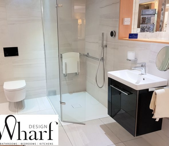 Wharf Design Displays - Bay 33 Villeroy & Boch Avento with V&B Franklin Tiles Aqata Spectra Screen Keuco Accesories Aqualisa Q Smart shower system