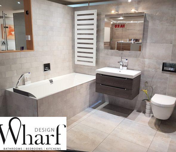 Wharf Design Displays - Bay 34 Villeroy & Boch Subway 2.0 with V&B Squaro Edge Bath Keuco Cabinet Zehnder Radiator Hansgrohe Brassware V&B Cadiz Tiles