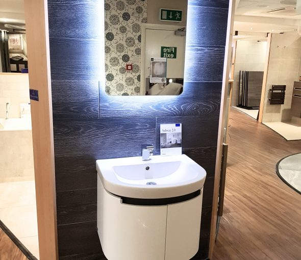 Wharf Design Displays - Bay 35 Villeroy & Boch Subway 2.0 Basin and Unit Keuco Tap Villeroy & Boch Halston Tiles HIB Mirror